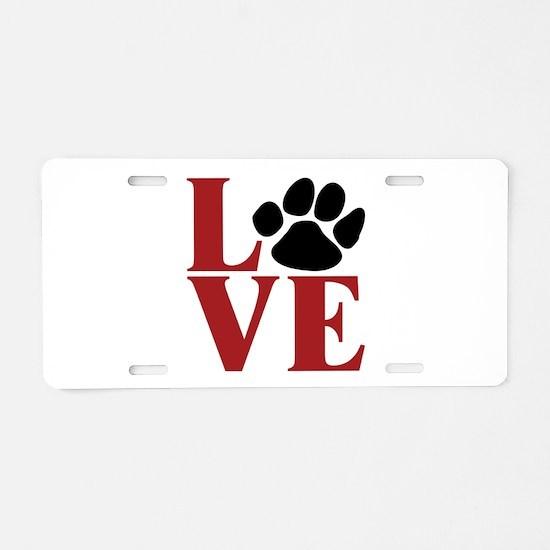 Love Paw Aluminum License Plate