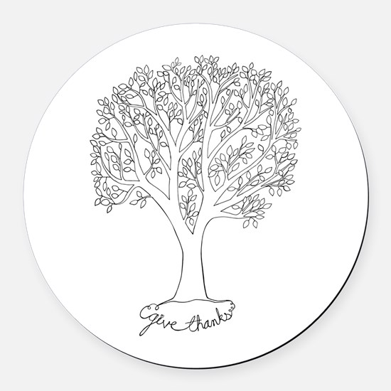 Give Thanks Tree Round Car Magnet