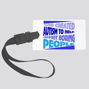 Funny autism Large Luggage Tag