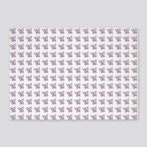 Purple dotted butterflies 5'x7'Area Rug