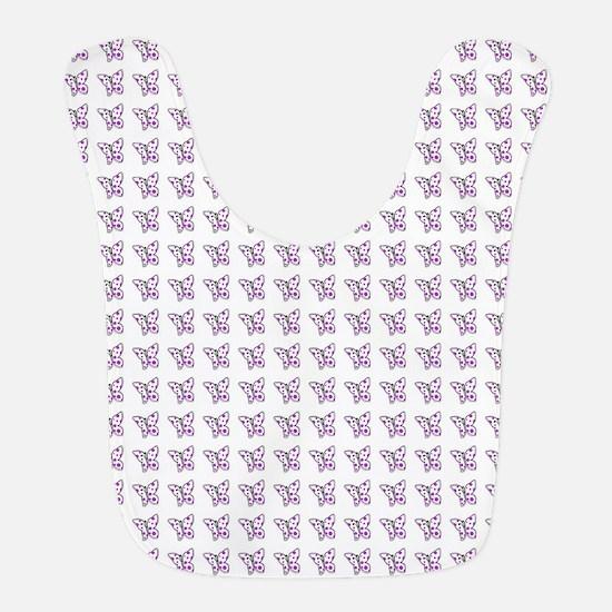 Purple dotted butterflies Bib