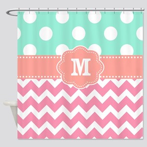 Pink Teal Coral Dots Chevron Monogram Shower Curta