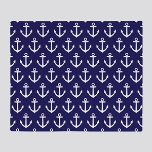 Anchor Nautical Navy Blue Throw Blanket