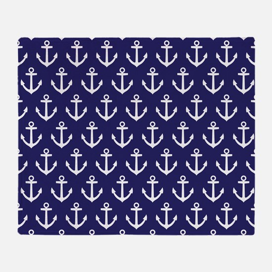 Anchor Nautical Navy Blue Throw Blanket