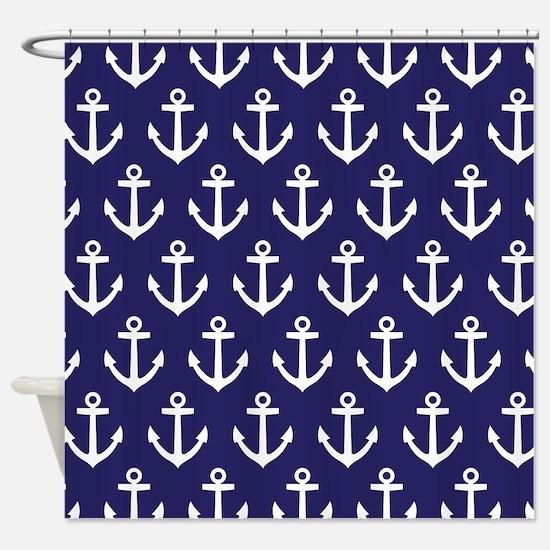 Anchor Nautical Navy Blue Shower Curtain