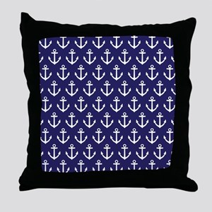 Anchor Nautical Navy Blue Throw Pillow