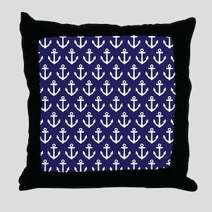 Anchor Nautical Navy Blue Throw Pillow