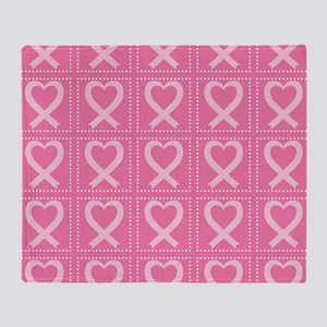 breast cancer pink heart Throw Blanket