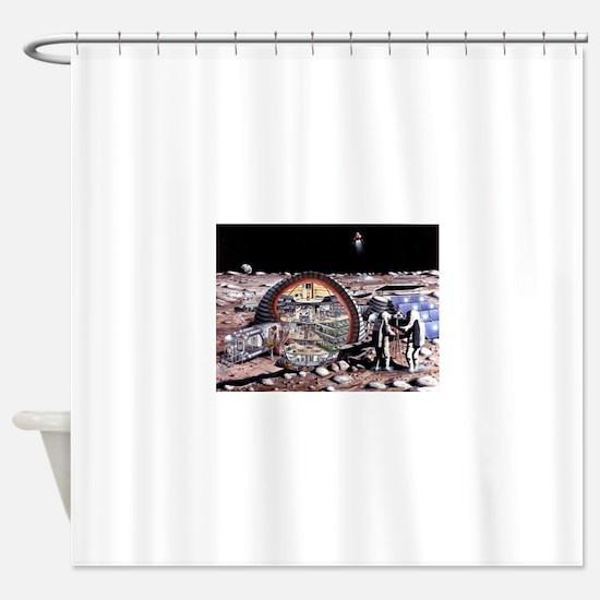 moon base Shower Curtain