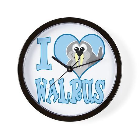 I Love (Heart) Walrus Wall Clock