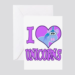 I Love (Heart) Unicorns Greeting Cards (Package of