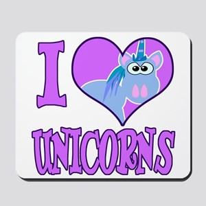 I Love (Heart) Unicorns Mousepad