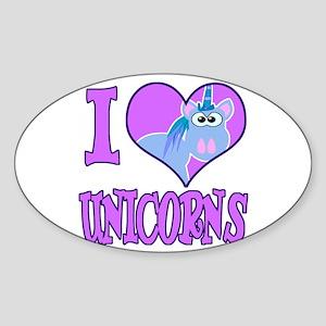 I Love (Heart) Unicorns Oval Sticker