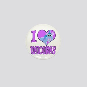 I Love (Heart) Unicorns Mini Button