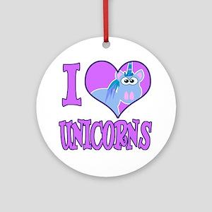 I Love (Heart) Unicorns Ornament (Round)