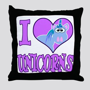 I Love (Heart) Unicorns Throw Pillow