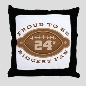 Football Number 24 Biggest Fan Throw Pillow