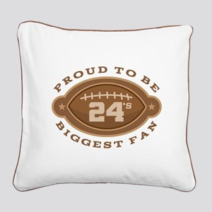 Football Number 24 Biggest Fa Square Canvas Pillow