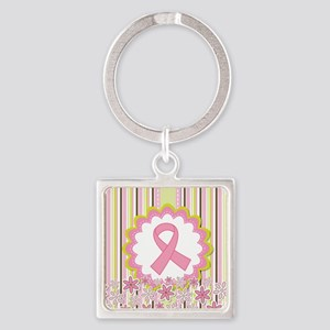 Breast Cancer Heart Ribbon Keychains