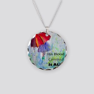 First Red Umbrella Necklace Circle Charm