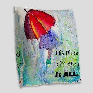 First Red Umbrella Burlap Throw Pillow