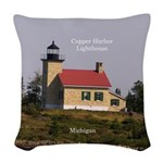 Copper Harbor Lighthouse Woven Throw Pillow
