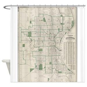 Milwaukee Shower Curtains CafePress - Vintage milwaukee map