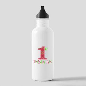 First Birthday Girl Pink Green Water Bottle
