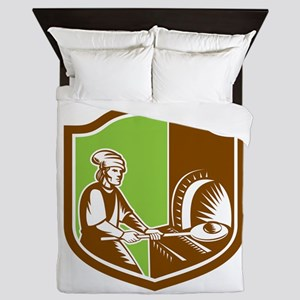 Baker Peel Bread Pan Shield Retro Queen Duvet