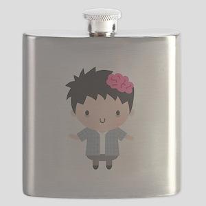 Cute Little Zombie Boy Halloween Flask