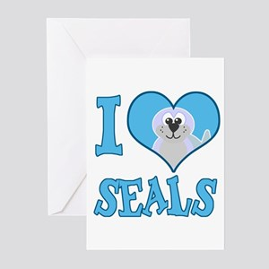 I Love (Heart) Seals Greeting Cards (Pk of 10)