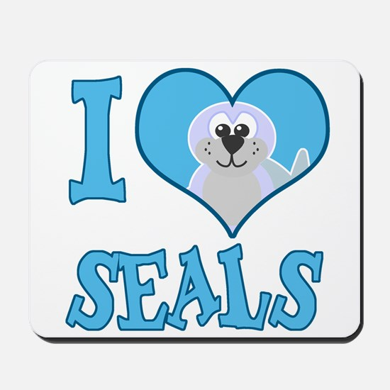 I Love (Heart) Seals Mousepad