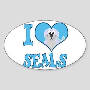 I Love (Heart) Seals Oval Sticker