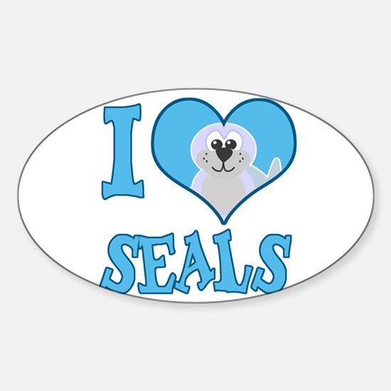 I Love (Heart) Seals Oval Decal