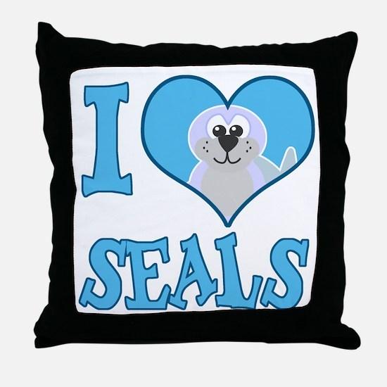 I Love (Heart) Seals Throw Pillow