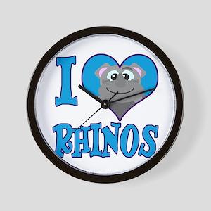 I Love (Heart) Rhinos Wall Clock
