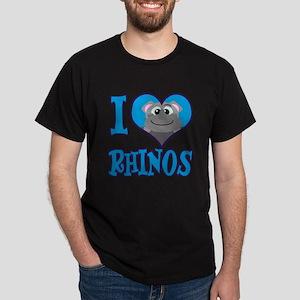 I Love (Heart) Rhinos Dark T-Shirt