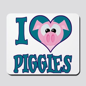 I Love (Heart) Piggies (Pigs) Mousepad