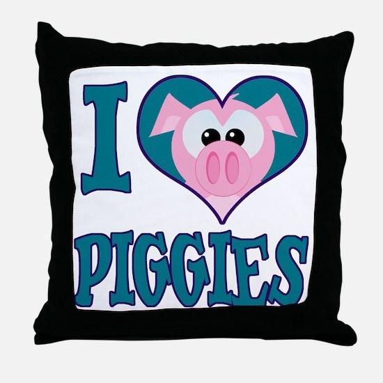 I Love (Heart) Piggies (Pigs) Throw Pillow