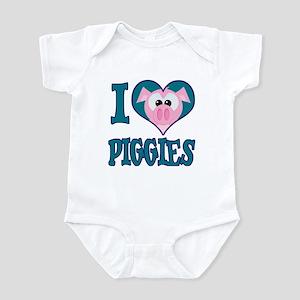 I Love (Heart) Piggies (Pigs) Infant Bodysuit