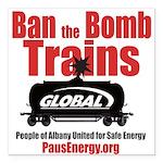"Ban The Bomb Trains Square Car Magnet 3"" X 3&"