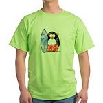 Surfing Macaroni Penguin Green T-Shirt