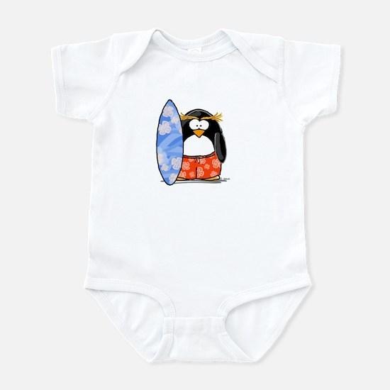 Surfing Macaroni Penguin Infant Bodysuit