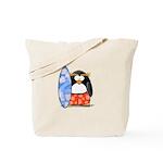 Surfing Macaroni Penguin Tote Bag