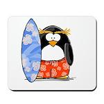 Surfing Macaroni Penguin Mousepad