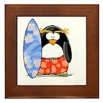 Surfing Macaroni Penguin Framed Tile