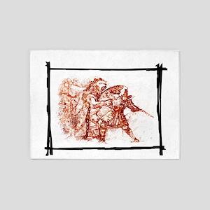 Gladiator fight again a Lion 5'x7'Area Rug