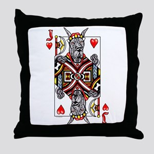 Great Dane Black J Hearts Throw Pillow