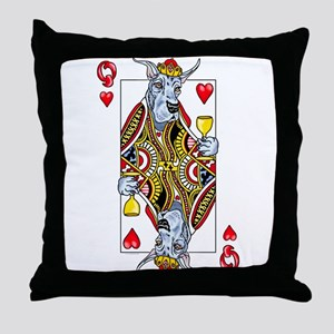 Great Dane Blue Q Hearts Throw Pillow