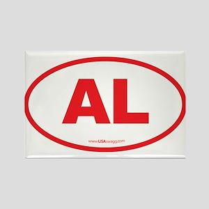 Alabama AL Euro Oval RED Rectangle Magnet